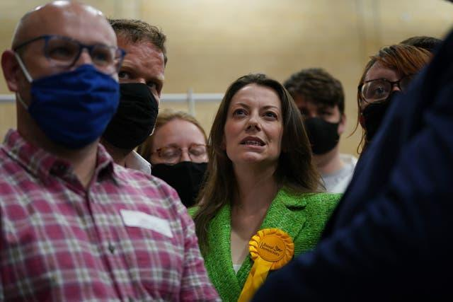 Sarah Green (centre) took the previously safe Tory seat for the Lib Dems (Yui Mok/PA)