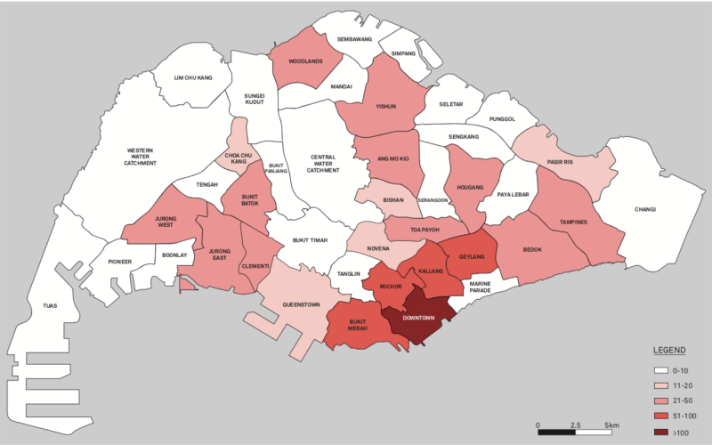 For the study, the map of Singapore was divided into 298 zones grouped into 25 districts. (SOURCE: Prof Ng Kok Hoe, Lee Kuan Yew School of Public Policy, NUS)