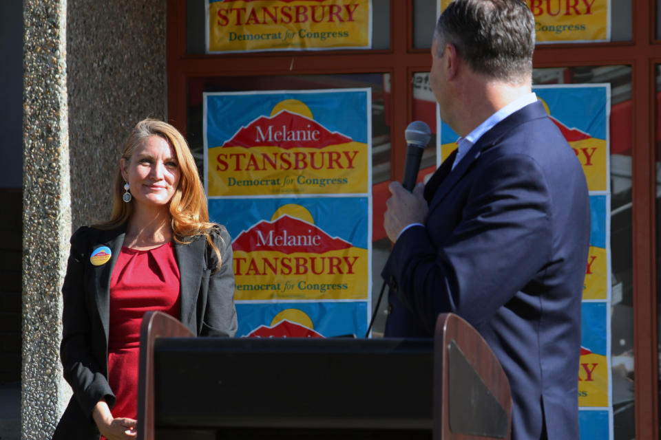 Doug Emhoff, the husband of Vice President Kamala Harris, turns to look at Democratic congressional candidate Melanie Stansbury during a campaign rally in Albuquerque, New Mexico, on Thursday, May 27, 2021. The visit marked Emhoff's first such trip on behalf of a candidate. (AP Photo/Susan Montoya Bryan)