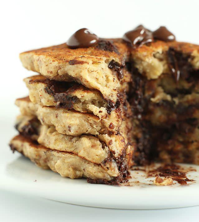 "<strong>Get the <a href=""http://minimalistbaker.com/chocolate-chip-oatmeal-cookie-pancakes-2-0/"" rel=""nofollow noopener"" target=""_blank"" data-ylk=""slk:Chocolate Chip Oatmeal Cookie Pancakes recipe"" class=""link rapid-noclick-resp"">Chocolate Chip Oatmeal Cookie Pancakes recipe</a> from Minimalist Baker</strong>"