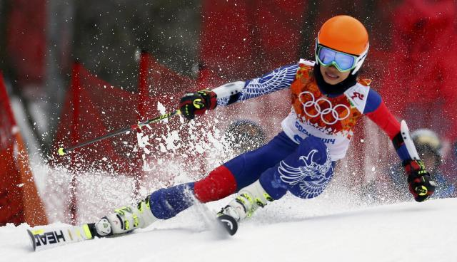 Vanessa Mae skis during the first run of the women's alpine skiing giant slalom event at the 2014 Sochi Winter Olympics