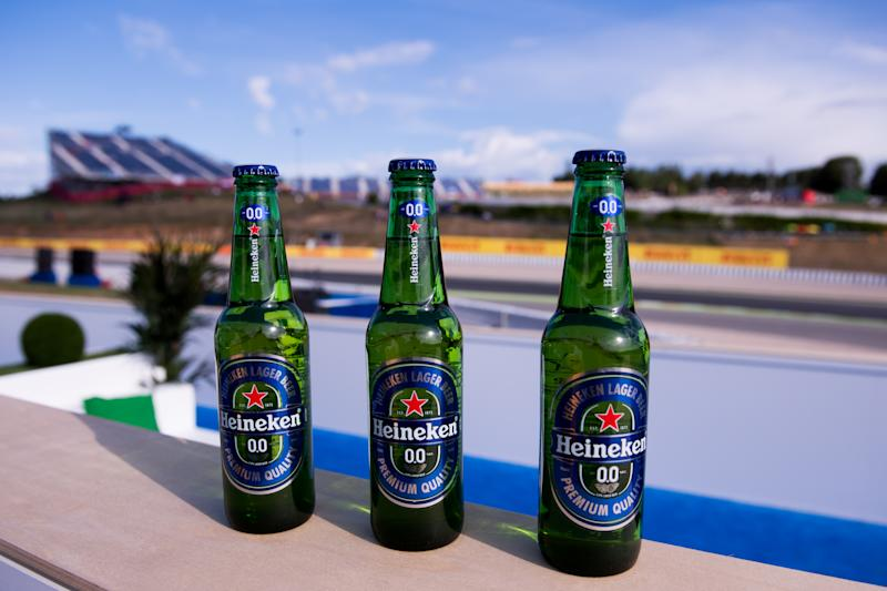 MONTMELO, SPAIN - MAY 14: Bottles of 'Heineken 0.0' are seen at the Heineken 0.0 grandstand, celebrating the launch of the zero alcohol beer 'Heineken 0.0' during the Spanish Formula One Grand Prix at Circuit de Catalunya on May 14, 2017 in Montmelo, Spain. (Photo by Alex Caparros/Getty Images for Heineken)