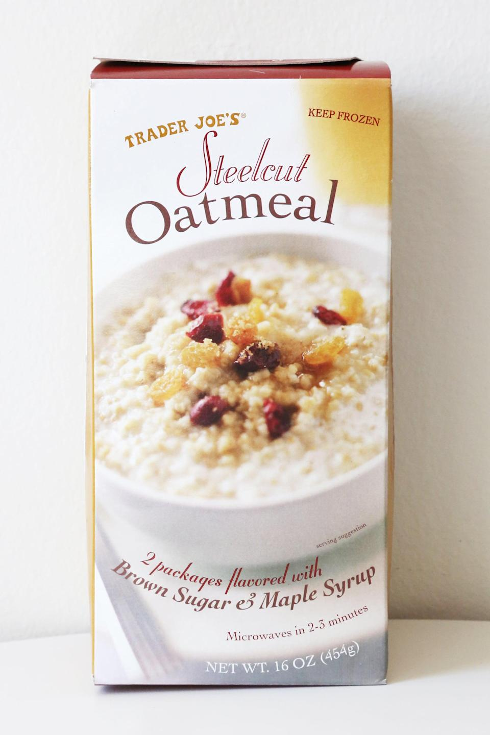 <p>Flavored with brown sugar and maple syrup, these frozen steel-cut oats take a matter of minutes to make. Throw them in your bag and take them to work, or make them right before you head out the door - everyone has time for this microwaveable breakfast.</p>