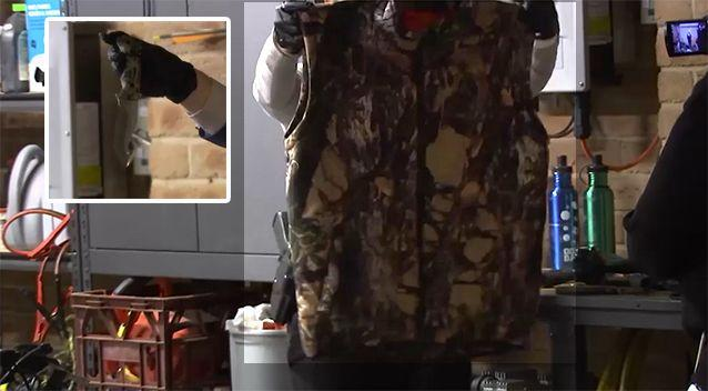 A number of camouflage clothing articles were gathered during a search of the man's house. Source: NSW Police
