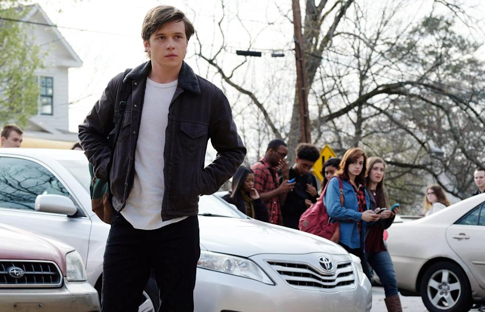 "<p>In this sweet coming-of-age film, Nick Robinson stars as Simon Spier, a closeted teenage boy who begins a <a href=""https://www.popsugar.com/entertainment/Love-Simon-Movie-Trailer-44308468"" class=""link rapid-noclick-resp"" rel=""nofollow noopener"" target=""_blank"" data-ylk=""slk:You've Got Mail type of relationship""><strong>You've Got Mail</strong> type of relationship</a> online with a boy named Blue. <strong>Love, Simon </strong>follows this central mystery, as well as how Simon comes out to his friends and family. Not only is the movie heartwarming, it also has the indie pop <a href=""https://www.popsugar.com/entertainment/Love-Simon-Soundtrack-44522399"" class=""link rapid-noclick-resp"" rel=""nofollow noopener"" target=""_blank"" data-ylk=""slk:soundtrack"">soundtrack</a> of your dreams, incorporating Bleachers, The 1975, Troye Sivan, and more. </p>"