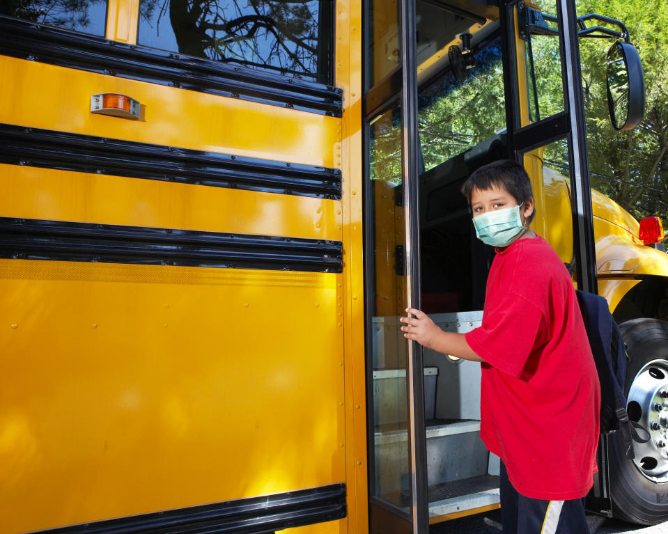 Masks and hand sanitizer are key to school-bus safety this fall, say experts. (Photo: Getty Images)