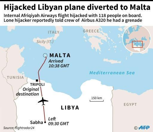 Hijacked Libyan plane lands in Malta: PM