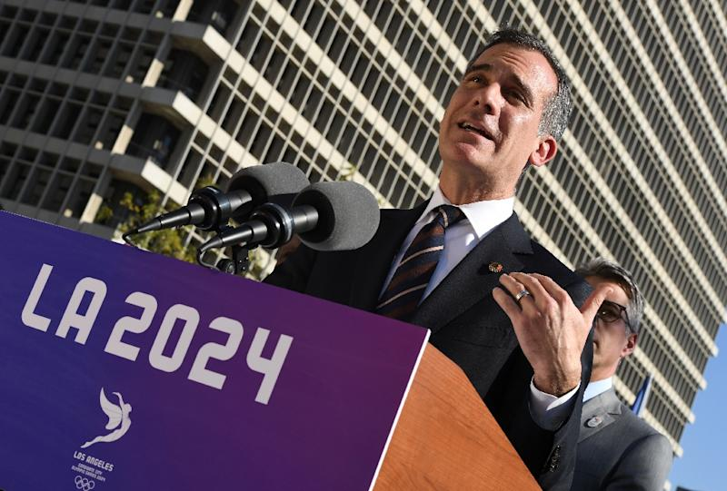 Los Angeles Mayor Eric Garcetti announces the city councils unanimous approval to bid for the 2024 Summer Olympics in Los Angeles, California