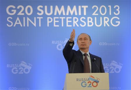 Russian President Putin speaks to the media during a news conference at the G20 summit in St. Petersburg