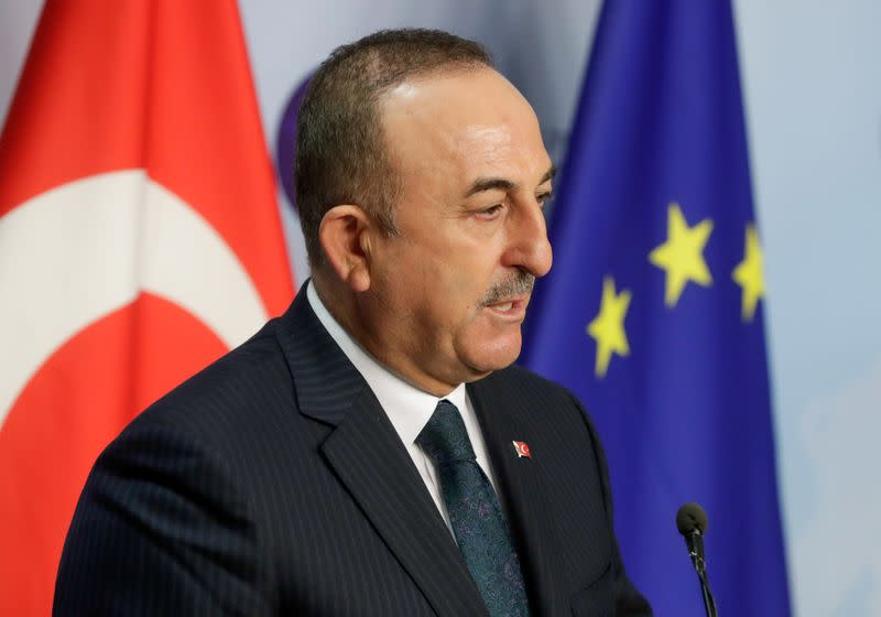 FILE PHOTO: Turkish Foreign Minister Mevlut Cavusoglu in Brussels