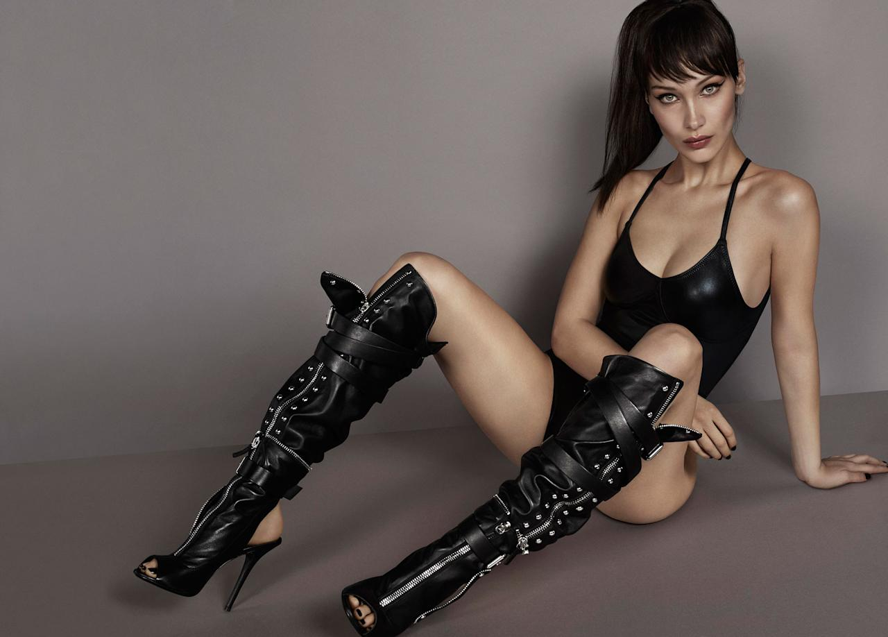 <p><strong>Model:</strong> Bella Hadid <br /><strong>Photographer:</strong> Mert & Marcus <br /><strong>Stylist: </strong>Carine Roitfeld<br />(Photo: Courtesy of Giuseppe Zanotti) </p>