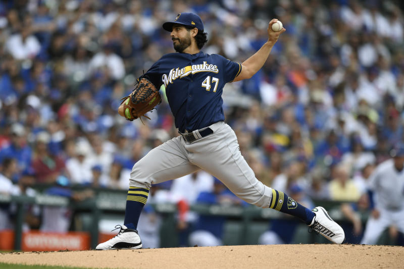 Milwaukee Brewers starter Gio Gonzalez delivers a pitch during the first inning of a baseball game against the Chicago Cubs, Sunday, Sept. 1, 2019, in Chicago. (AP Photo/Paul Beaty)