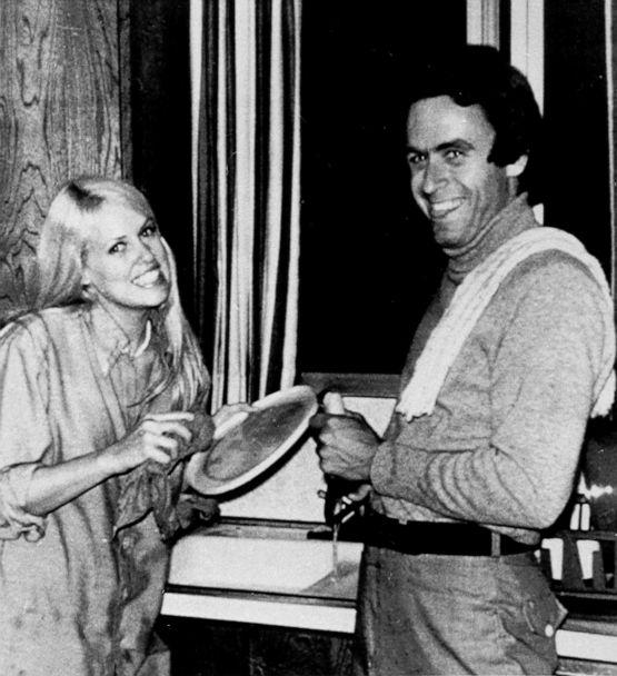 PHOTO: Ted Bundy, right, poses for a snapshot with Carol Bartholomew as he helped with the dishes after a birthday party in Salt Lake City, Utah, in 1975. (Salt Lake City Deseret News via AP, FILE)