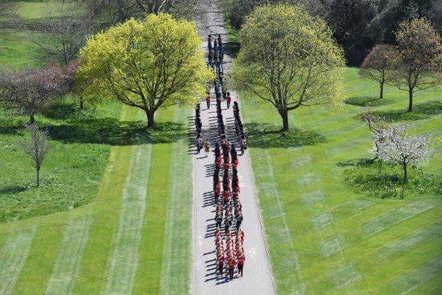 Members of the military arrive for the funeral of the Duke of Edinburgh in Windsor Castle, Berkshire