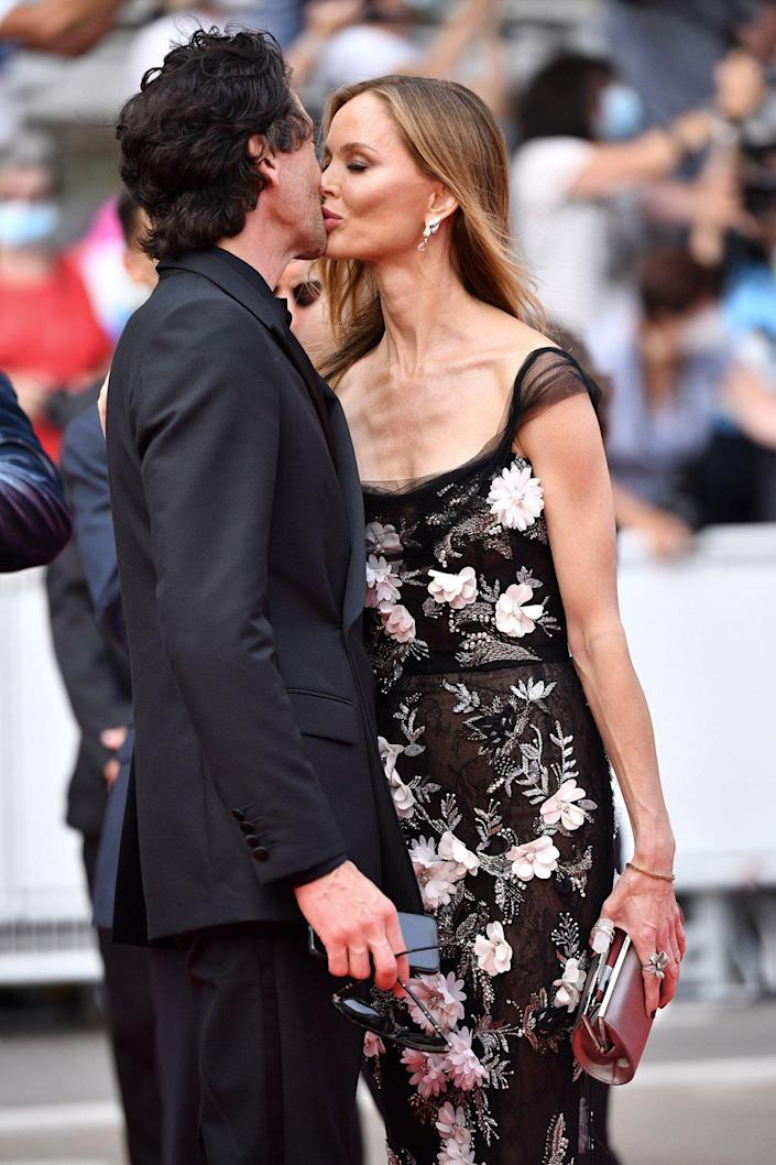 """Adrien Brody and Georgina Chapman attend the """"The French Dispatch"""" screening during the 74th annual Cannes Film Festival on July 12, 2021 in Cannes, France"""
