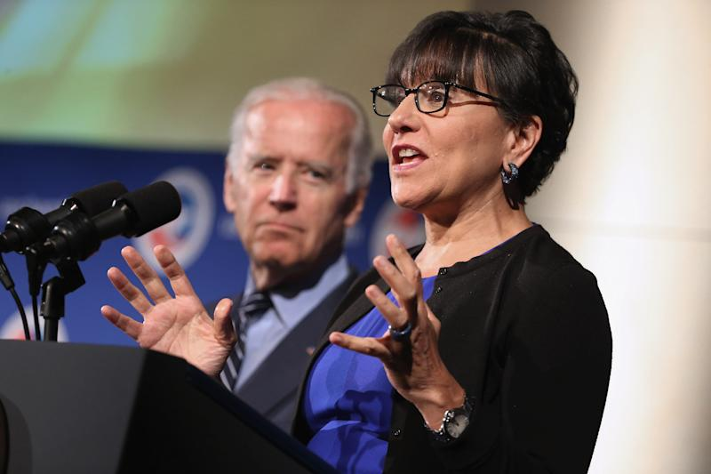 WASHINGTON, DC - JULY 13: U.S. Commerce Secretary Penny Pritzker (R) introduces Vice President Joe Biden during a U.S.-Ukraine business forum at the U.S. Chamber of Commerce July 13, 2015 in Washington, DC. The conference, titled 'U.S.-Ukraine Business Forum: Choices for Growth,' brought together business leaders from the two countries for high-level talks aiming to advance the Ukrainian economy. (Photo by Chip Somodevilla/Getty Images)