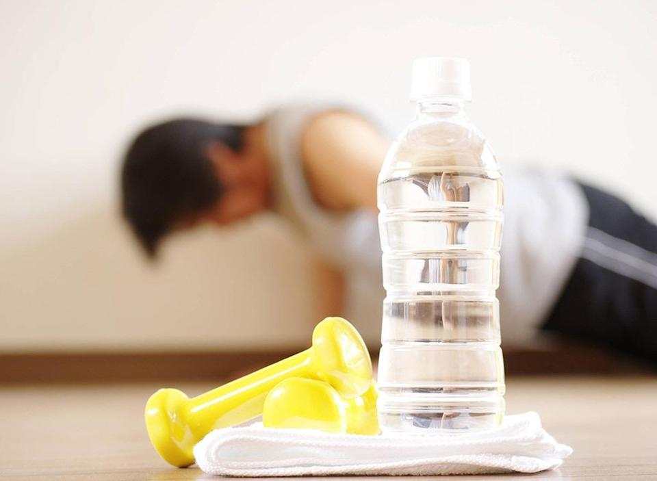 Bottled water at gym