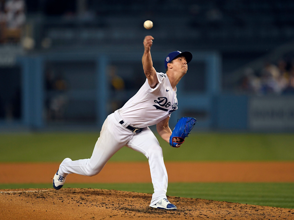 Dodgers starter Walker Buehler delivers during the fourth inning against the Padres on Saturday.