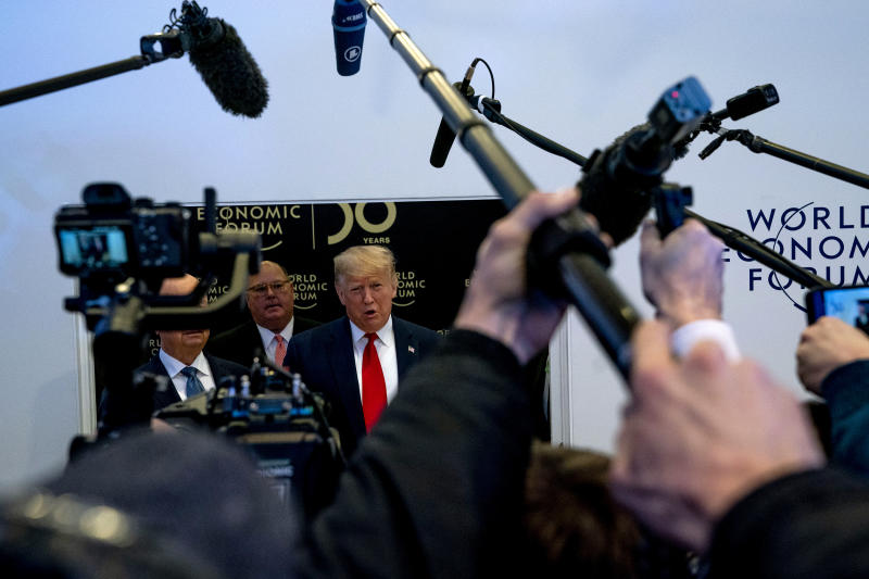 President Donald Trump speaks to reporters after delivering opening remarks at the World Economic Forum in Davos, Switzerland on Jan. 21, 2020. (Anna Moneymaker/The New York Times)