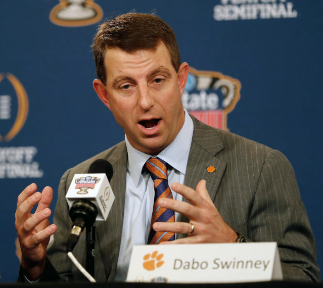 Clemson head coach Dabo Swinney would love to have Georgia on the schedule on a yearly basis. (AP Photo/Gerald Herbert, File)