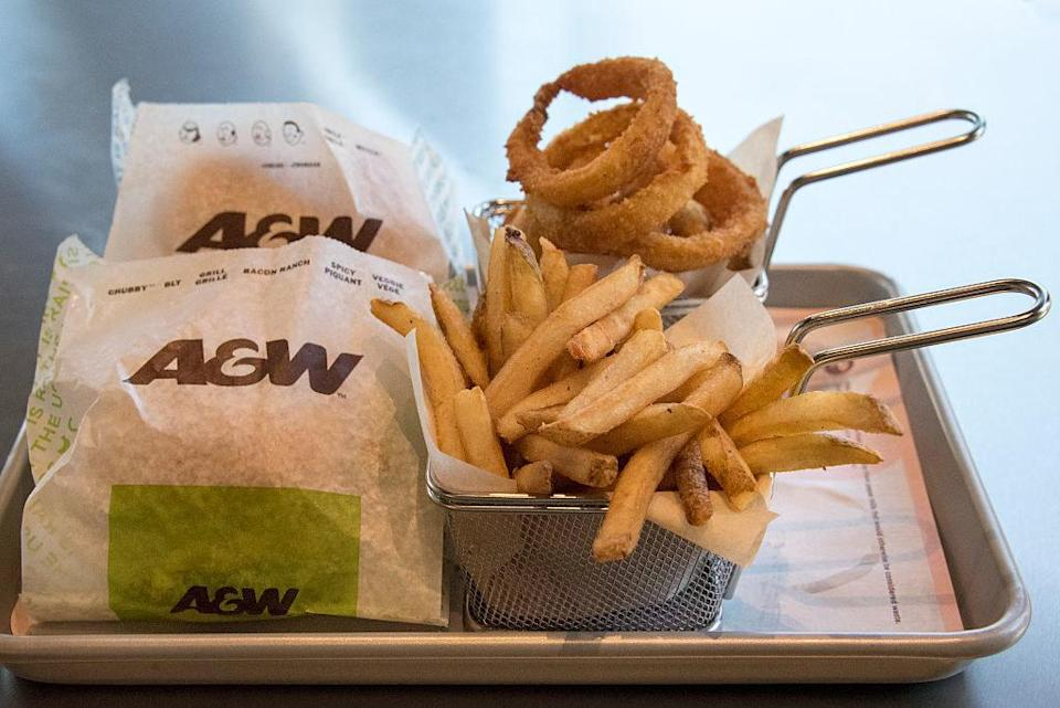 tray of food from A&W restaurant