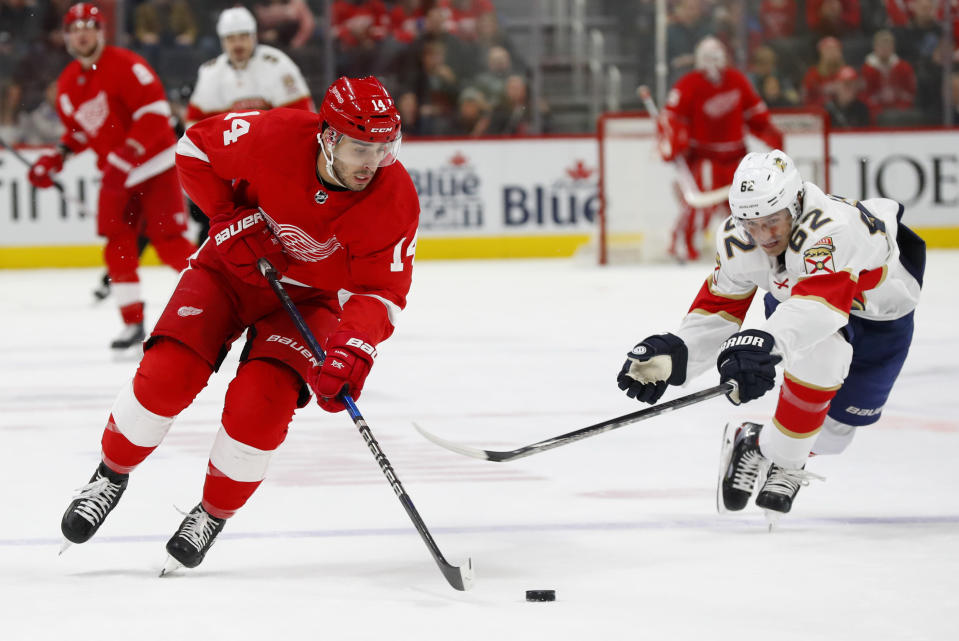 Detroit Red Wings center Robby Fabbri (14) attacks with the puck as Florida Panthers center Denis Malgin (62) tries to make a steal during the first period of an NHL hockey game Saturday, Jan. 18, 2020, in Detroit. (AP Photo/Paul Sancya)