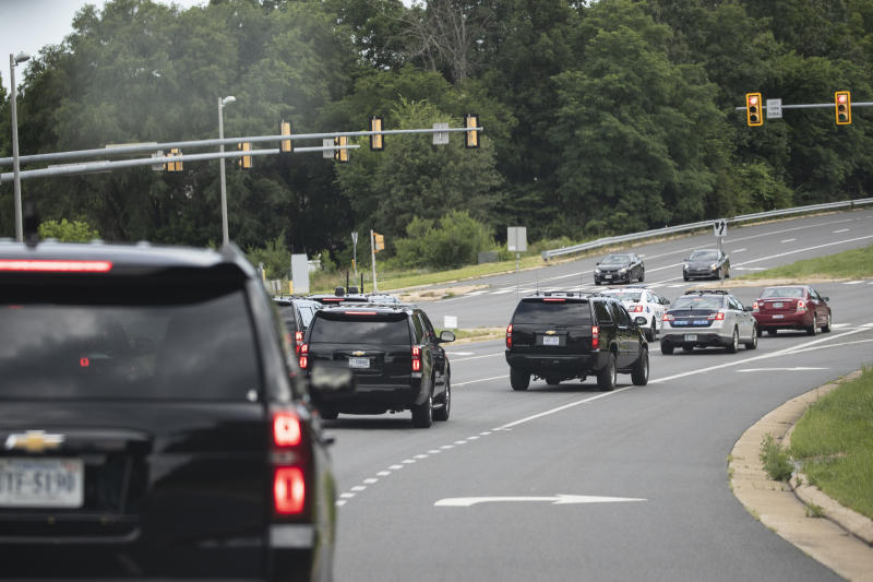 The motorcade for President Donald Trump travels en route to Trump National Golf Club, Sunday, June 28, 2020, in Sterling, Va. (AP Photo/Alex Brandon)