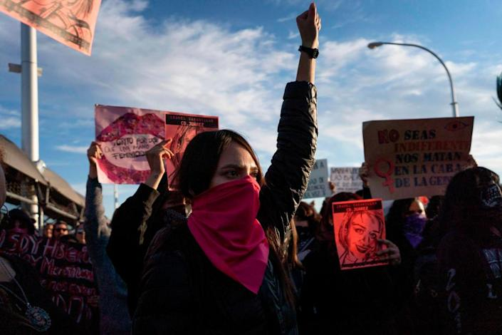 Protesters gather in Ciudad Juarez demand justice for artist and activist Isabel Cabanillas, 26, who was murdered in the streets of Juarez.
