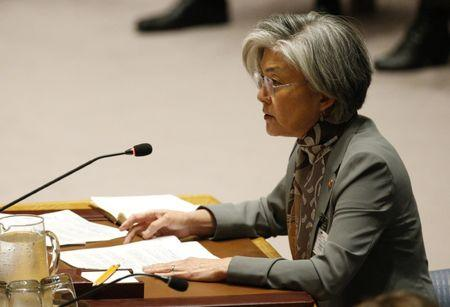 South Korean Foreign Minister Kang Kyung-wha speaks during a U.N. Security Council meeting at U.N. headquarters in New York