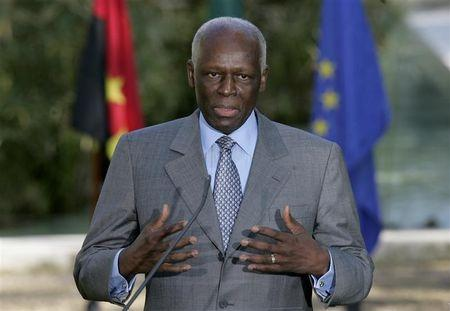 Angola's President Jose Eduardo dos Santos talks to journalists after a ceremony held at Sao Bento Palace in Lisbon