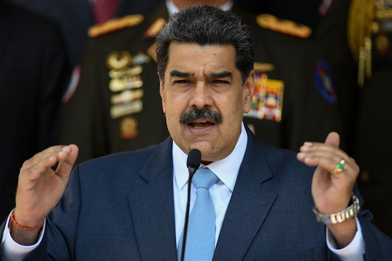 Nicolás Maduro speaks at the Miraflores Presidential Palace in Caracas, Venezuela, on March 12, 2020. The first cases of the coronavirus in Venezuela were confirmed the next day. (Photo: AP Photo/Matias Delacroix)
