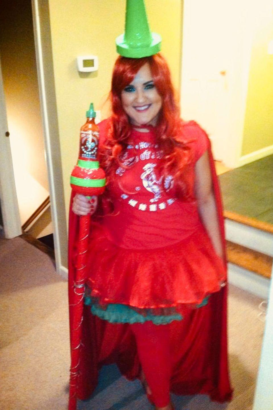 <p>Sriracha Queen is ruler of Condiment Kingdom and Halloween.</p>
