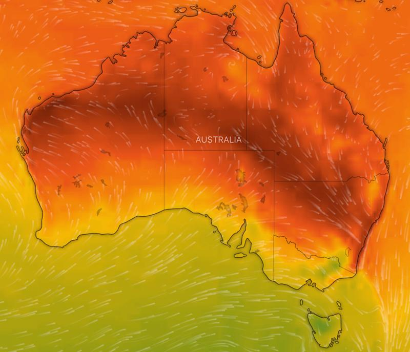 A weather map shows Australia's temperature on Thursday.