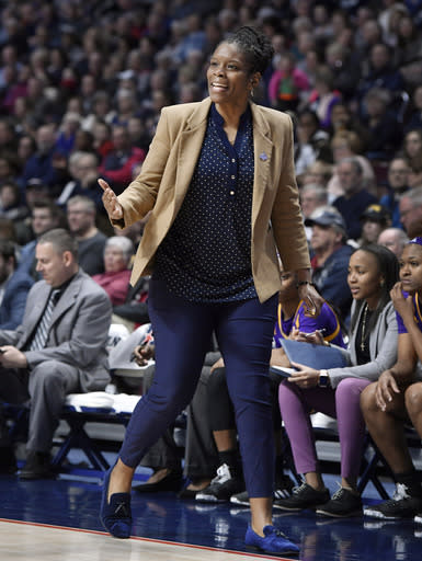 East Carolina acting head coach Nicole Mealing reacts during the first half of an NCAA college basketball game against Connecticut in the American Athletic Conference tournament quarterfinals, Saturday, March 9, 2019, at Mohegan Sun Arena in Uncasville, Conn. (AP Photo/Jessica Hill)