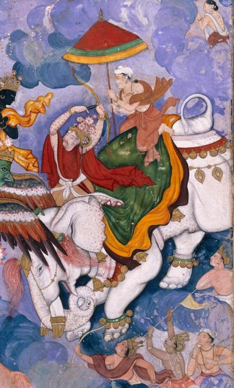Krishna's combat with Indra - Credit:  Victoria and Albert Museum