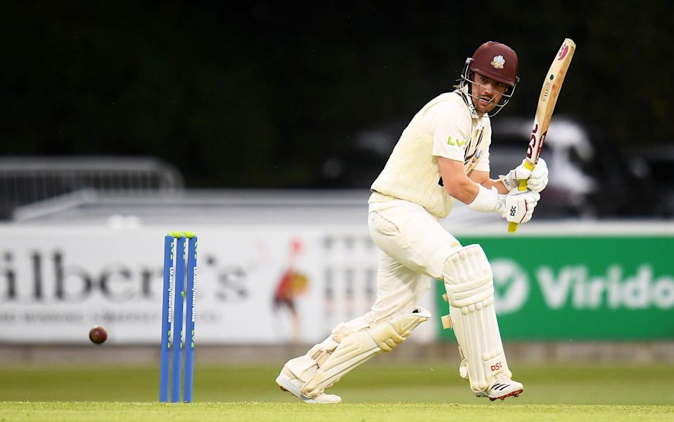 Rory Burns of Surrey plays a shot during Day Two of the LV= Insurance County Championship match between Somerset and Surrey at The Cooper Associates County Ground on May 14, 2021 in Taunton, England. - GETTY IMAGES