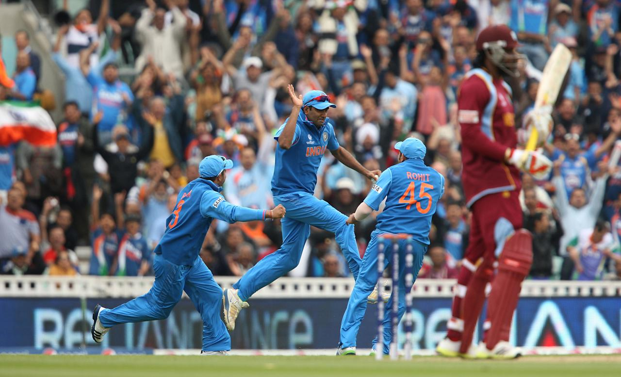 India's Ravichandran Ashwin celebrates catching out West Indies' Chris Gayle during the ICC Champions Trophy match at the Kia Oval, London.