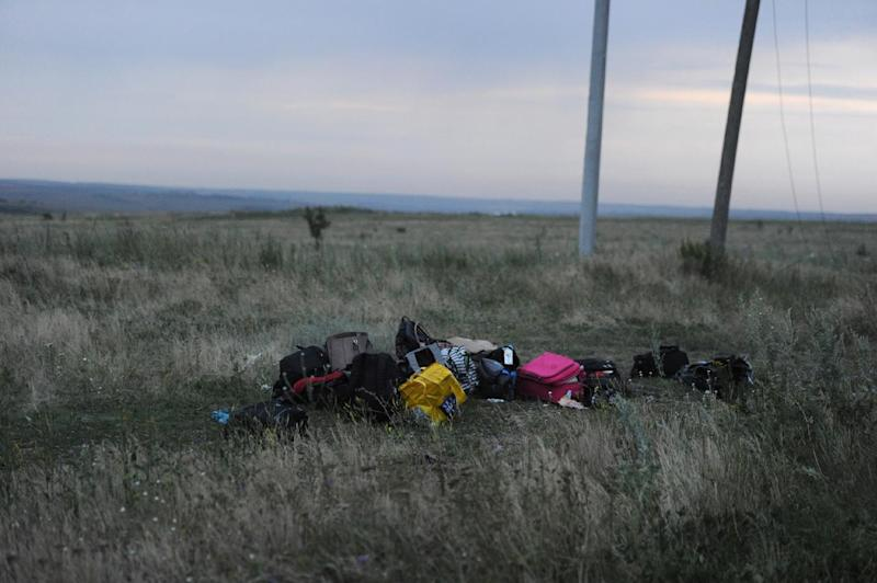 Luggage pictured on July 17, 2014 on the site of the crash of the Malaysian airliner, near the town of Shaktarsk, in rebel-held east Ukraine (AFP Photo/Dominique Faget)