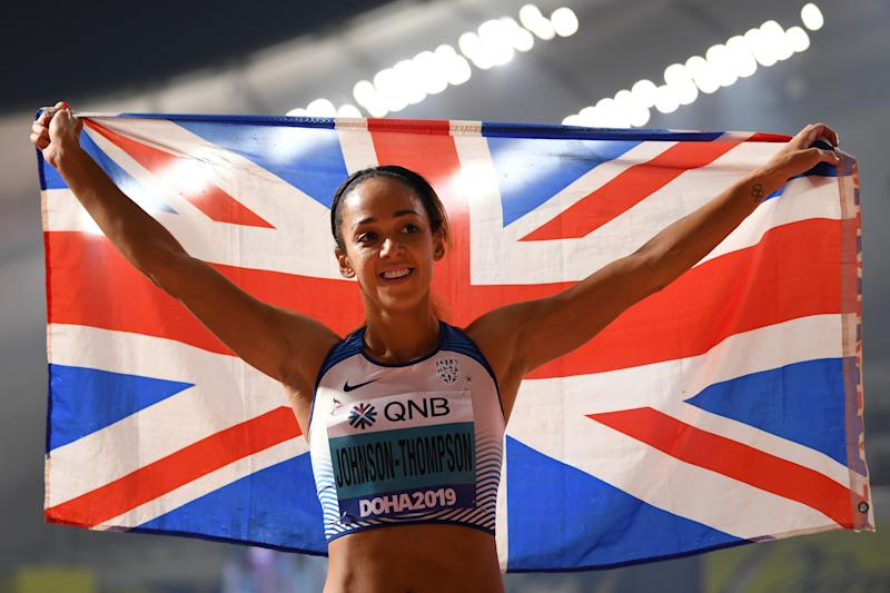 Britain's Katarina Johnson-Thompson wins the the Women's Heptathlon at the 2019 IAAF Athletics World Championships at the Khalifa International stadium in Doha on October 3, 2019. (Photo by Jewel SAMAD / AFP) (Photo by JEWEL SAMAD/AFP via Getty Images)
