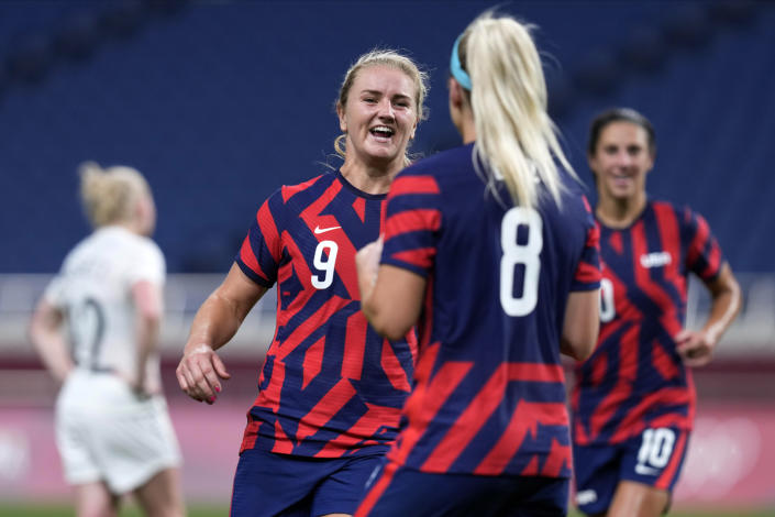 United States' Lindsey Horan(9) celebrates after scoring a goal during a women's soccer match against New Zealand at the 2020 Summer Olympics, Saturday, July 24, 2021, in Saitama, Japan. (AP Photo/Martin Mejia)