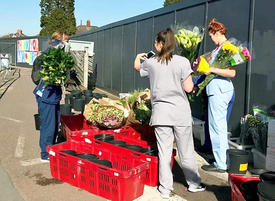 Flowervision Bristol put on the huge giveaway outside Southmead Hospital (SWNS)