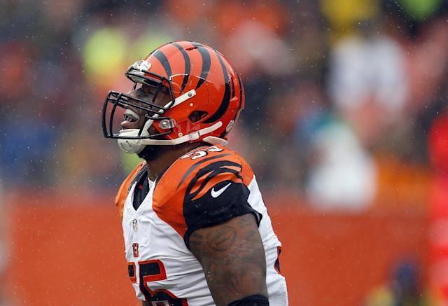 "<a class=""link rapid-noclick-resp"" href=""/nfl/players/26238/"" data-ylk=""slk:Vontaze Burfict"">Vontaze Burfict</a> started a training camp fight with a cheap shot to teammate <a class=""link rapid-noclick-resp"" href=""/nfl/players/26660/"" data-ylk=""slk:Giovani Bernard"">Giovani Bernard</a>. (AP)"