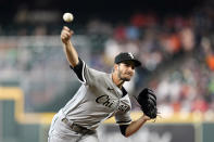 Chicago White Sox starting pitcher Dylan Cease throws against the Houston Astros during the first inning of a baseball game Thursday, June 17, 2021, in Houston. (AP Photo/David J. Phillip)