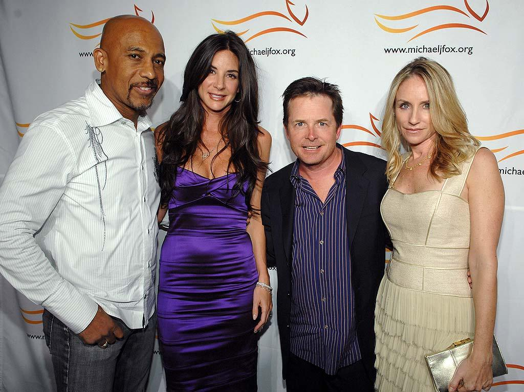 "Montel Williams and his wife Tara Fowler catch up with Michael and Tracy. The talk show host heads up his own charity for another central nervous system disorder: the Montel Williams MS Foundation. John Shearer/<a href=""http://www.wireimage.com"" target=""new"">WireImage.com</a> - May 8, 2008"