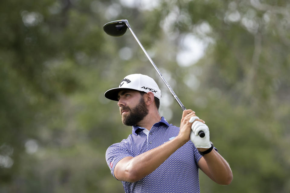 Erik van Rooyen, of South Africa, watches his drive down he eighth fairway during the first round of the Palmetto Championship golf tournament in Ridgeland, S.C., Thursday, June 10, 2021. (AP Photo/Stephen B. Morton)