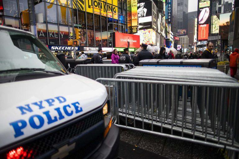 NYPD officers stand guard at Times Square on January 3, 2020 in New York City.