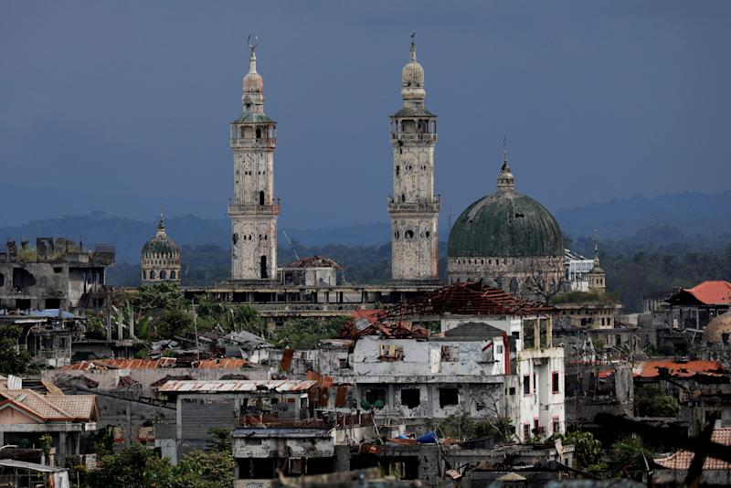 Dilapidated structures are seen at the most affected war-torn area of Marawi City, Lanao del Sur province, Philippines. (Photo: Eloisa Lopez/Reuters)