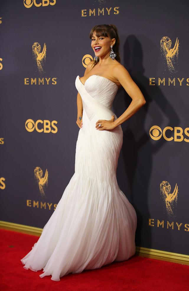Sofia Vergara arriving at the Emmys. (Photo: Mike Blake/Reuters)