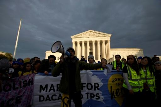 """Defenders of people known as """"Dreamers"""" -- who were brought to the US illegally as children -- rally outside the Supreme Court on November 10, 2019"""