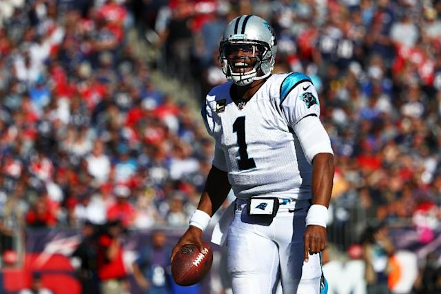 Cam Newton of the Carolina Panthers celebrates during the fourth quarter against the New England Patriots at Gillette Stadium on October 1, 2017 in Foxboro, Massachusetts (AFP Photo/Maddie Meyer)